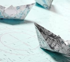 Currency origami boats