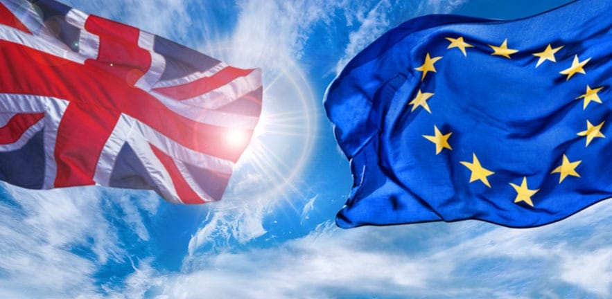 European Union and British Union flag flying