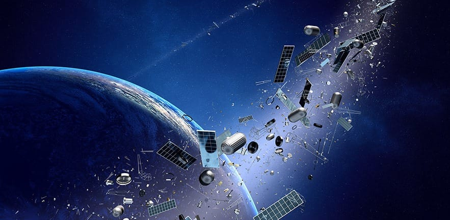 Space junk orbiting around earth - Conceptual of pollution around our planet (Texture map for 3D furnished by NASA