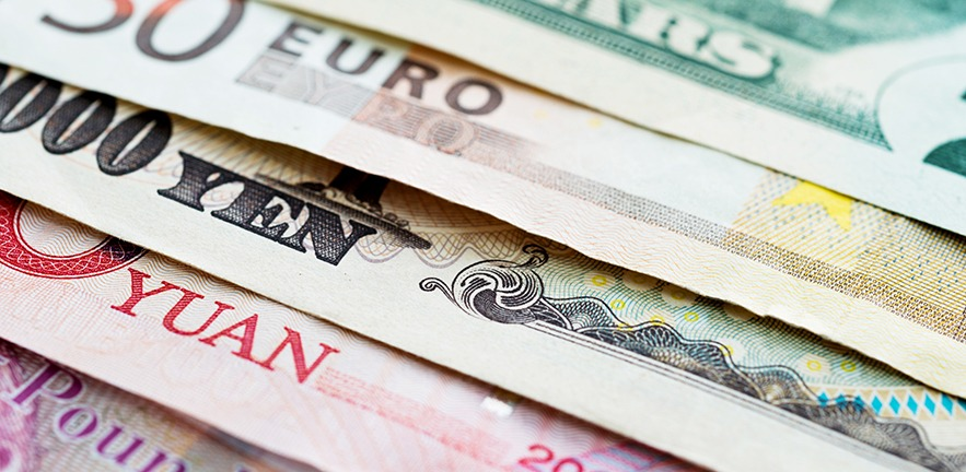 Background of international currency notes.
