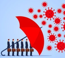 Red umbrella protecting workers from coronavirus.